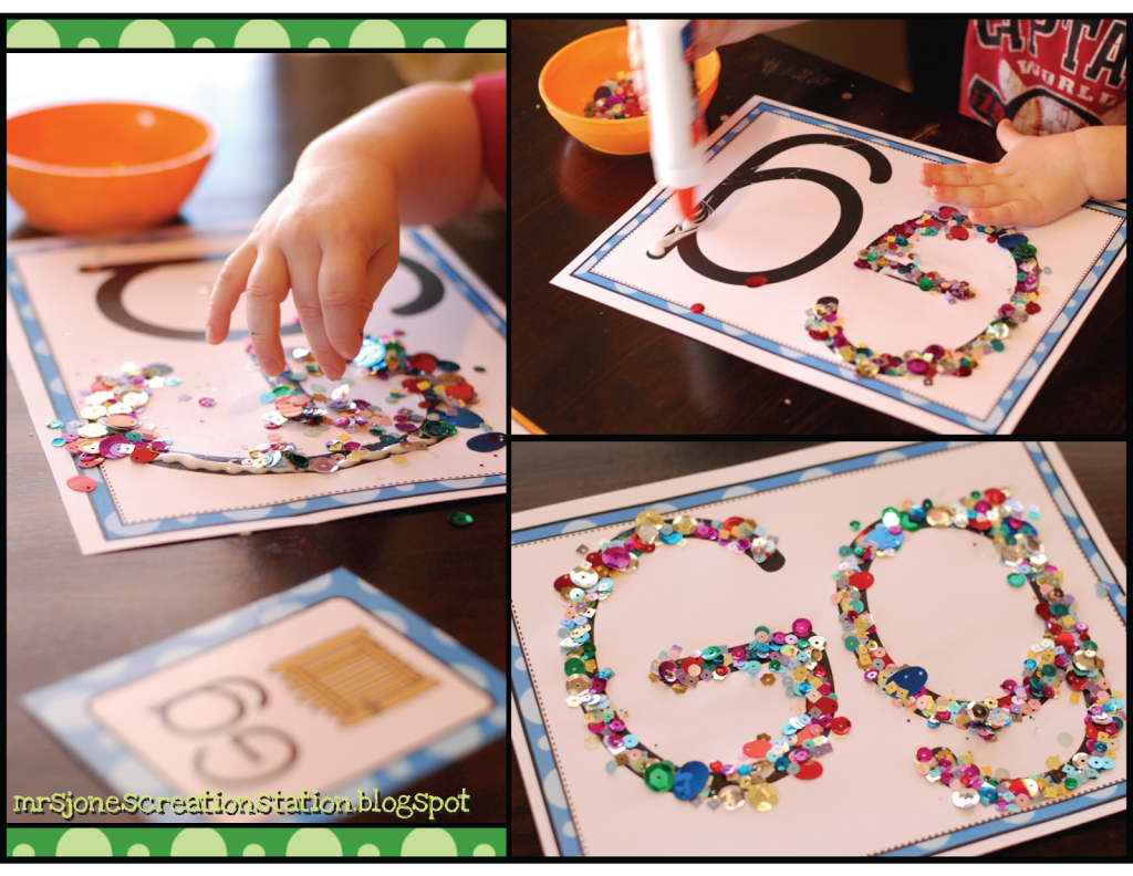 we started with doing a tactile letter gg by gluing on glitter and sequins you can get this for free below
