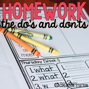 Homework in Primary Classroom
