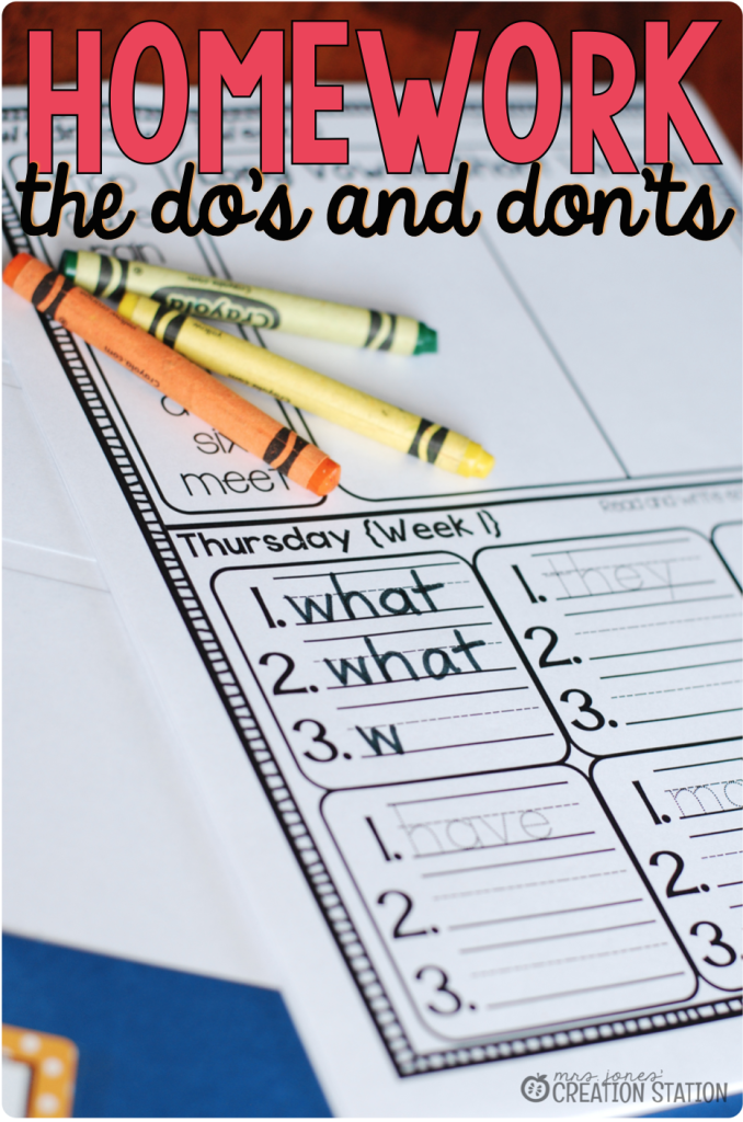 Homework in Primary Classroom The Do's and Don'ts