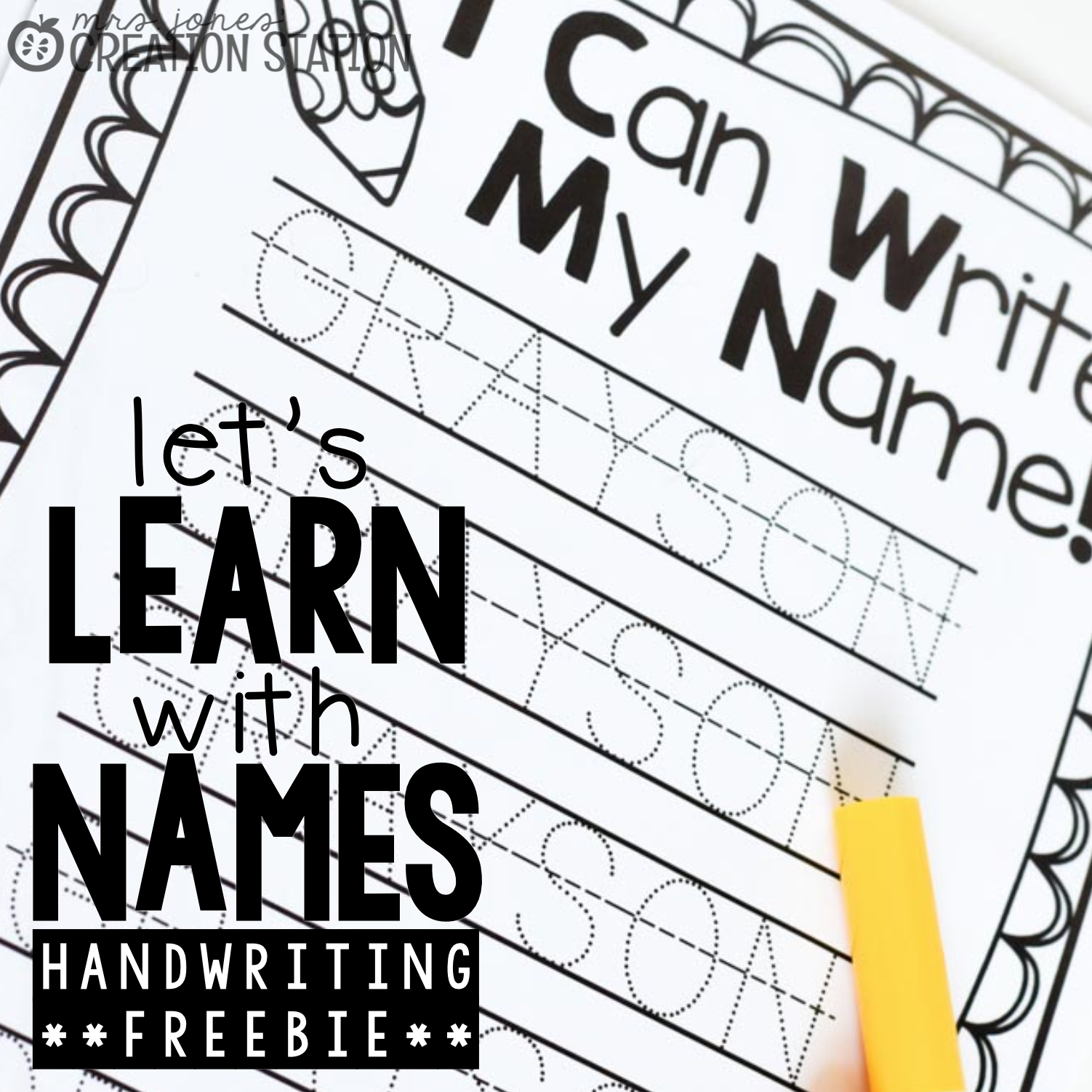 Free Name writing practice page - Mrs. Jones Creation Station