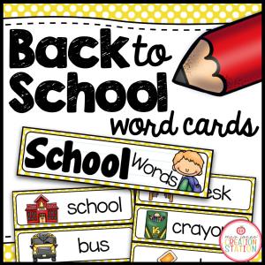Back to School Word Card FREEBIE