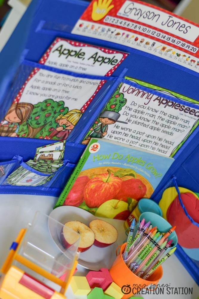 Apple Science for little learners to teach parts of the apple, life cycle, and a scientific investigation
