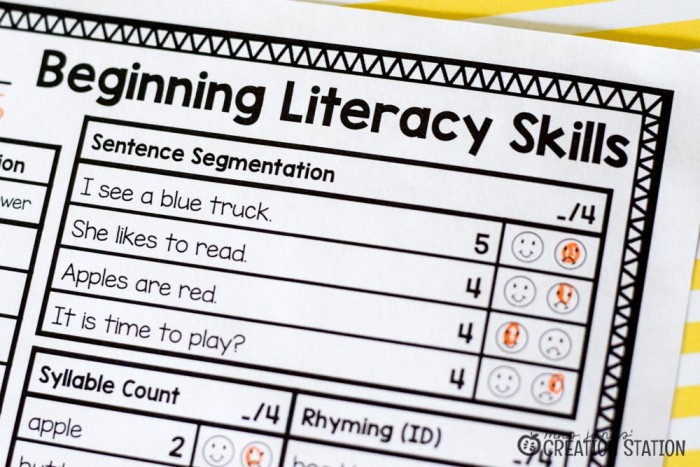 FREE Beginning Literacy Assessment for Pre-K and Kindergarten