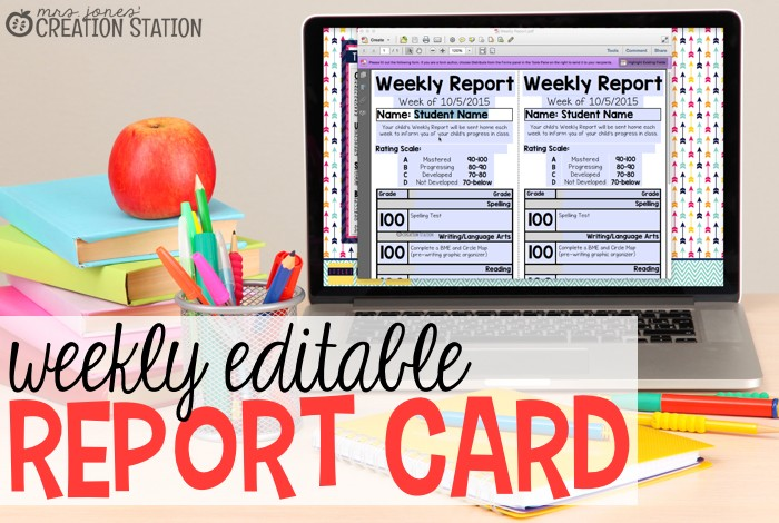Weekly Editable Report Card