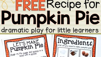 Pumpkin Pie Recipe for Dramatic Play - MJCS