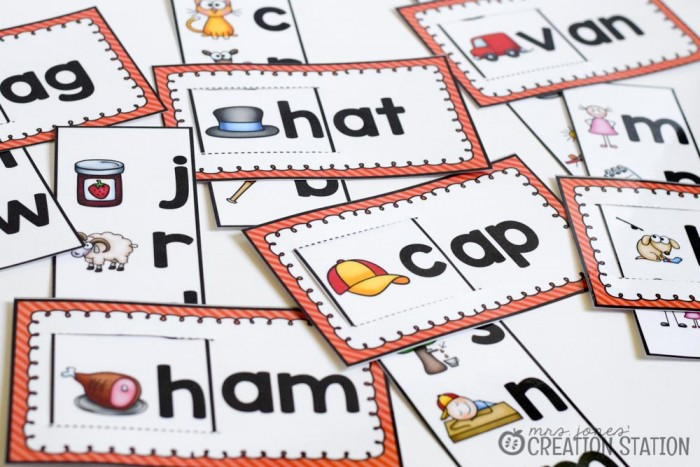 Short A Word Pattern Cards - MJCS
