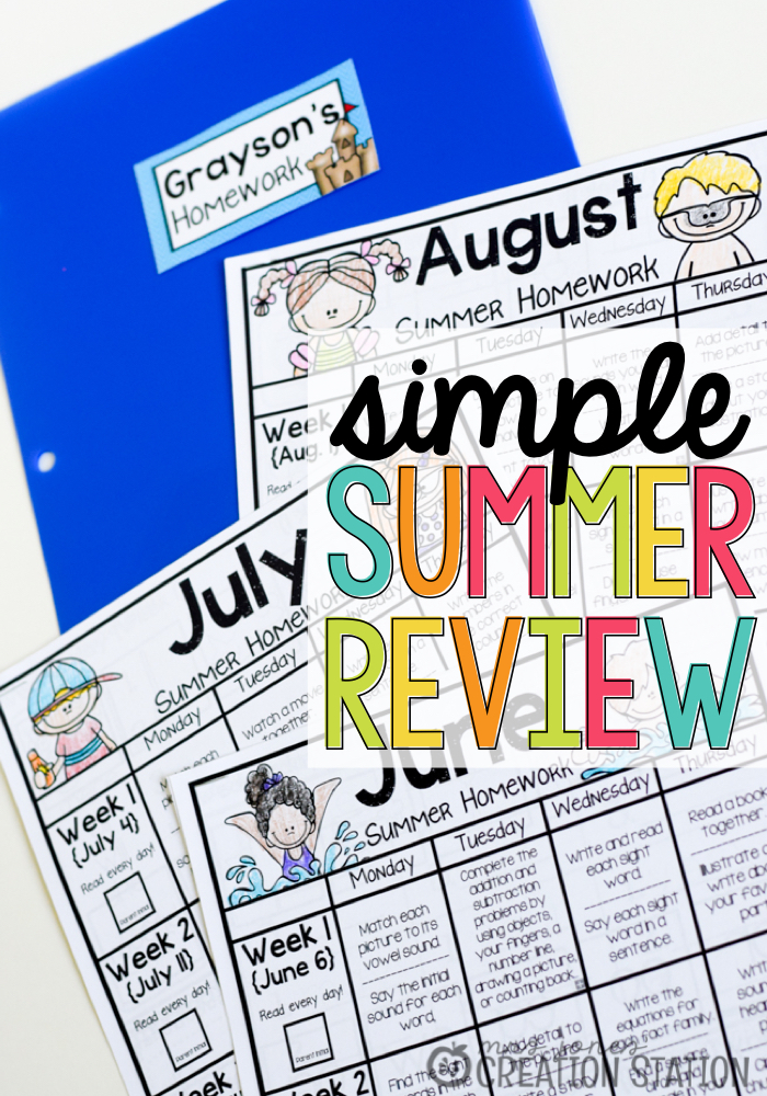 Simple Summer Review Packets -MJCS
