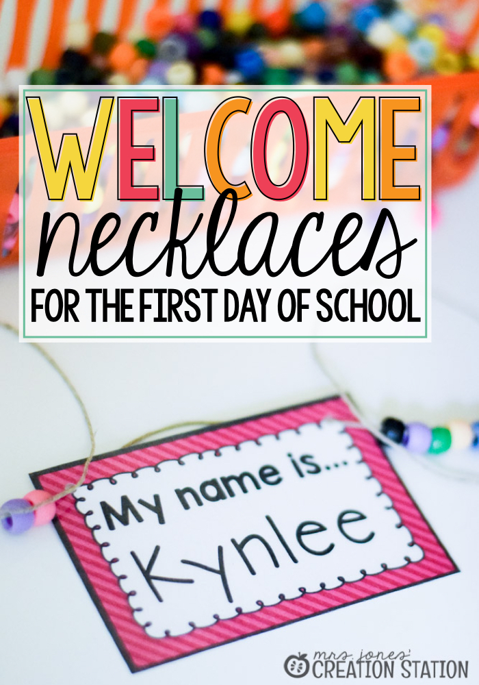 Name tag Necklaces on the first day of school instead of coloring pages