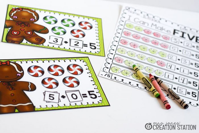 I Can Make Five-Gingerbread Making Numbers Mat- Mrs. Jones Creation Station
