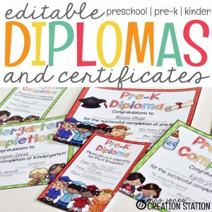 Editable Diplomas and Certificates for Preschool, Pre-k and Kindergarten