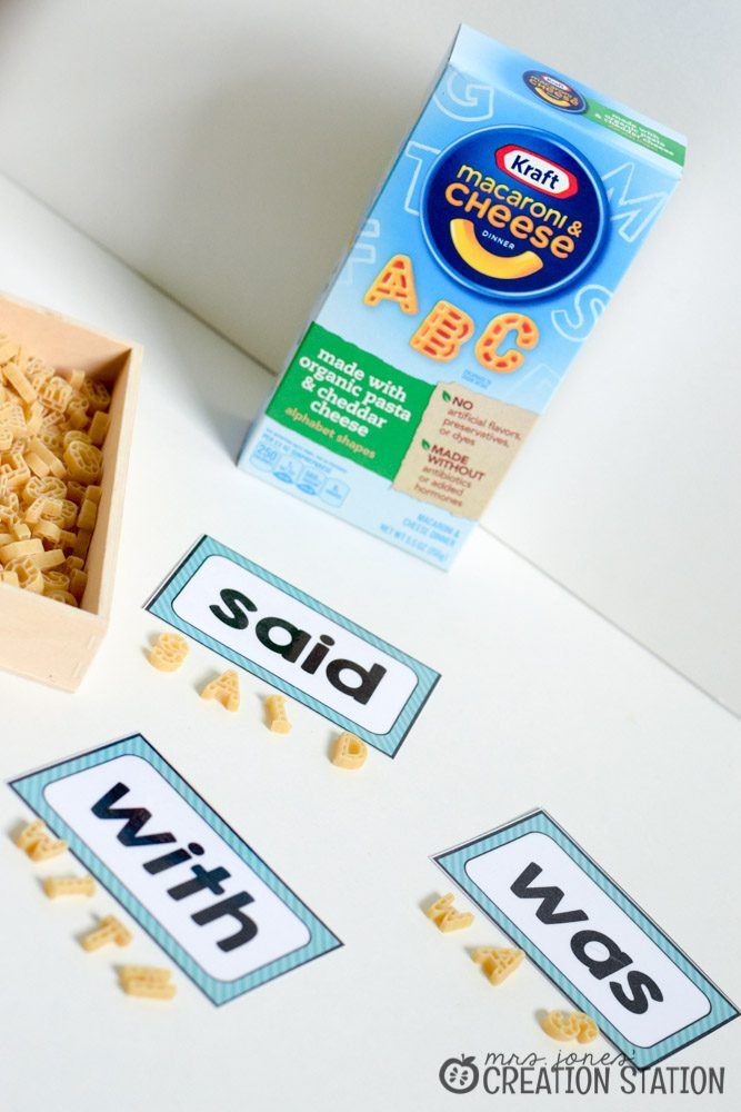 Making Sight Words with Pasta