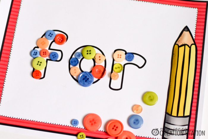 Back to school August sight word center for kindergarten and first grade