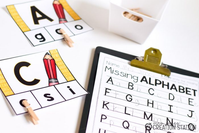 Back to school August alphabet center for kindergarten and first grade