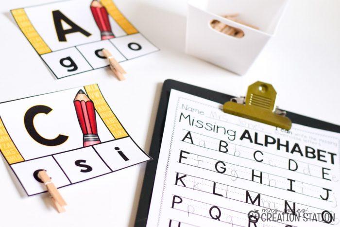 Back to school August alphabet center for kindergarten and first grade