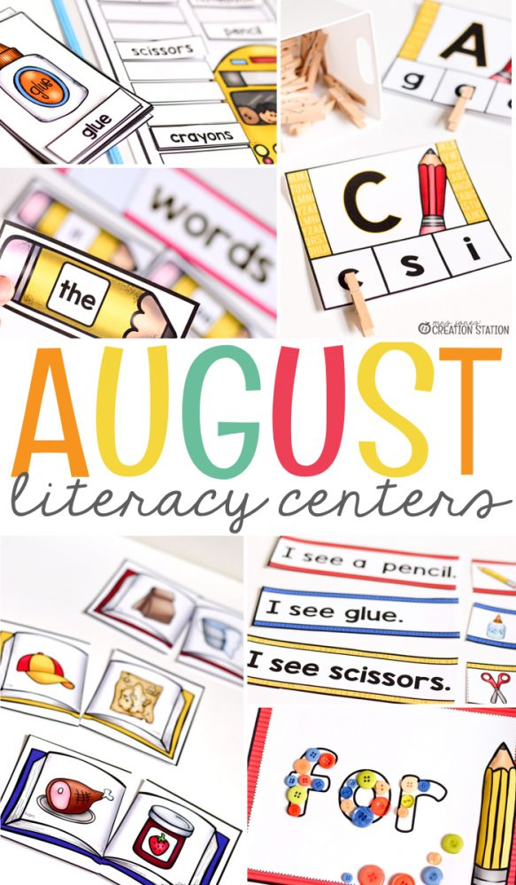 Back to school August literacy Centers for kindergarten and first grade