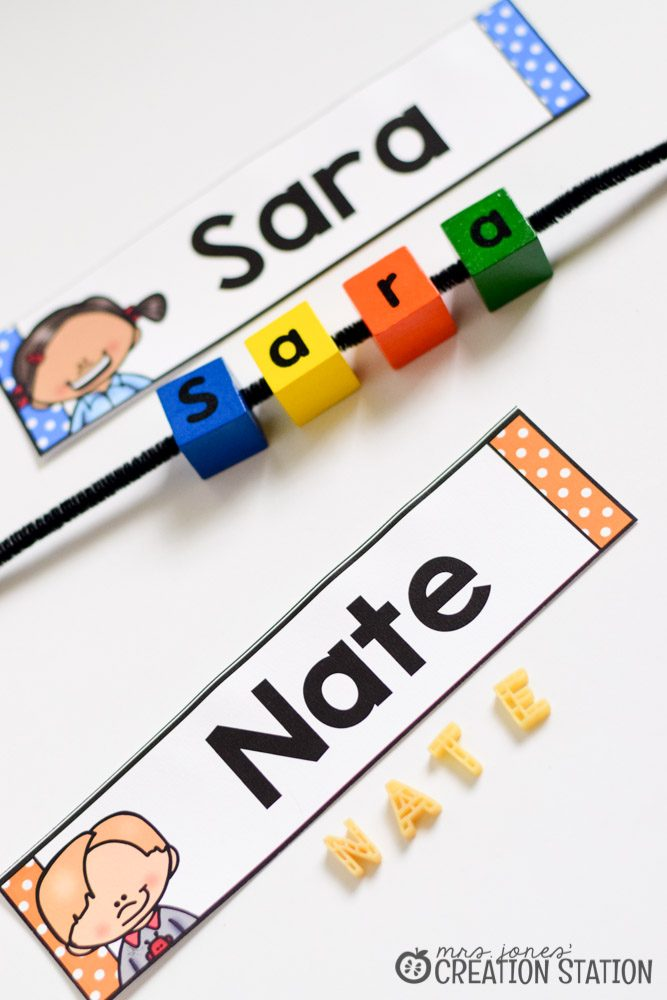 name activity using letter blocks or alphabet pasta