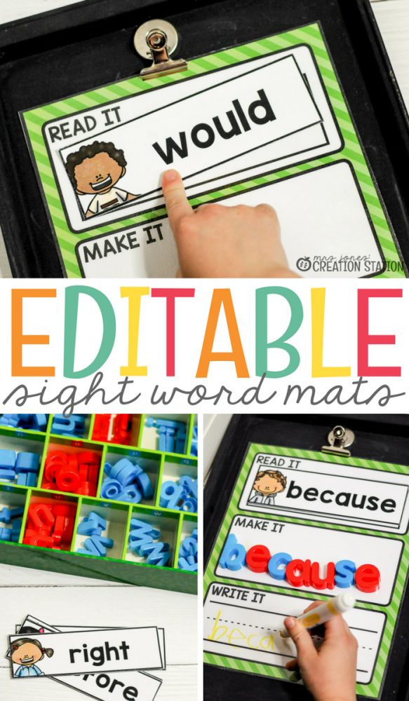 Editable Sight Word Mats-Mrs. Jones Creation Station