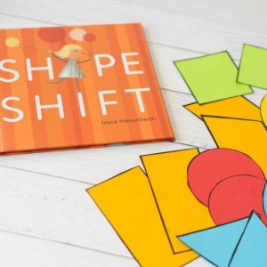 shape shifting activities with paper shapes and book