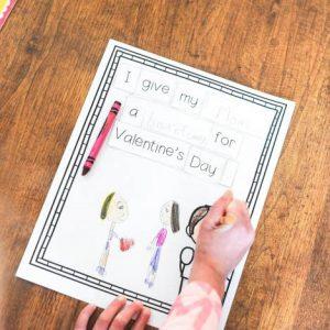 valentines sentence building printable