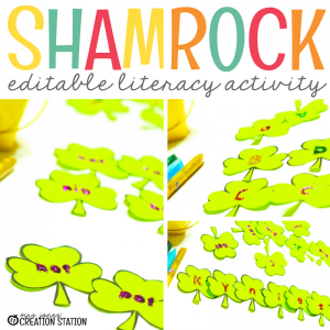 photo of shamrock editable name activity for st patricks day. used for name practice, sight work practice and rhyming practice