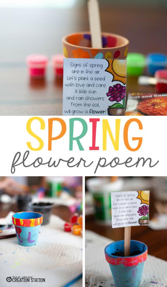 Spring flower poem on popsicle stick in mini flower pot