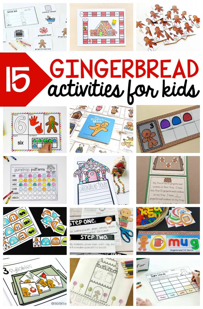 FREE Gingerbread activities for kids for math and literacy