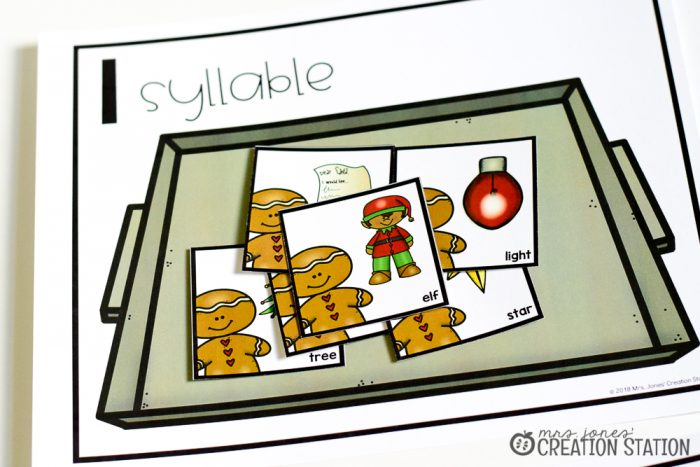 FREE Gingerbread syllable sort for kindergarten and first grade for the holiday season