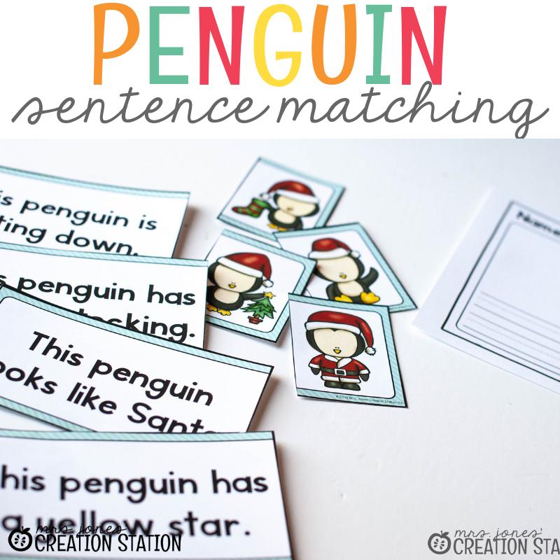 Winter Themed Sentence Matching- Mrs. Jones Creation Station