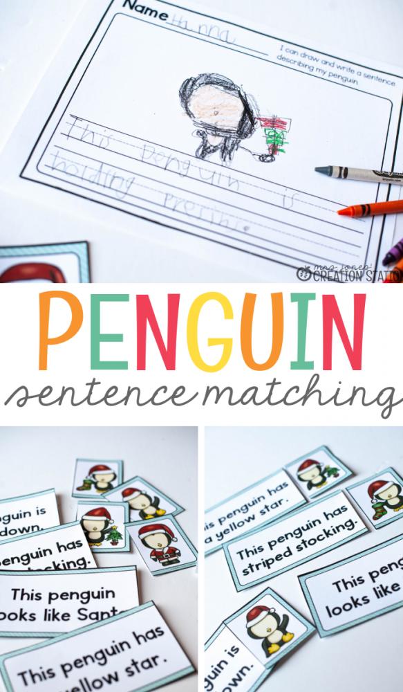 Winter Penguin Themed Sentence Matching- Mrs. Jones Creation Station