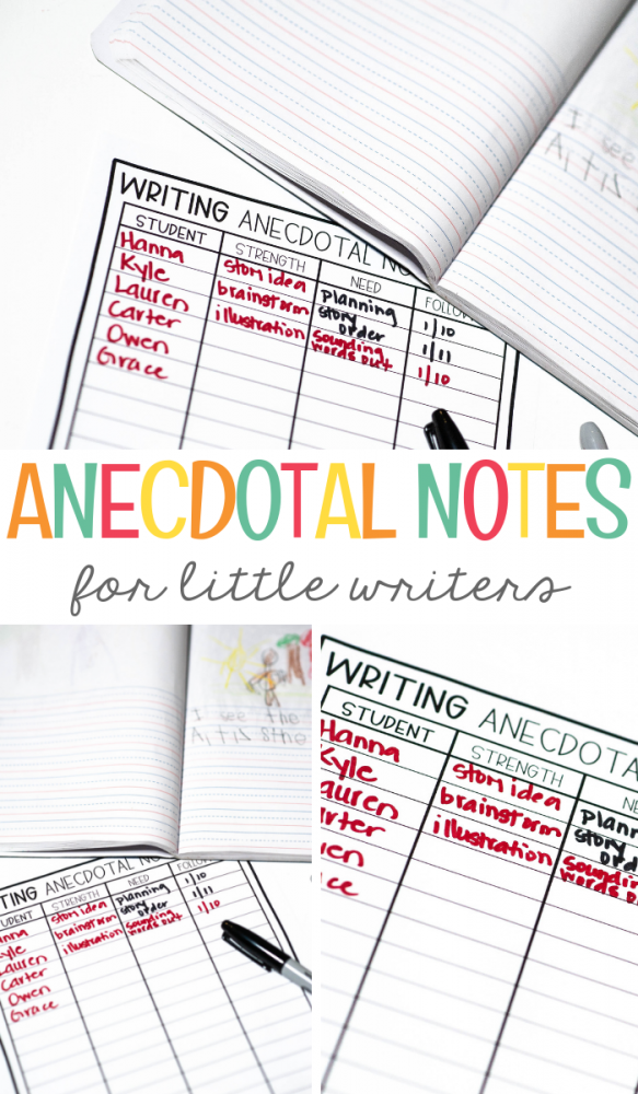Anecdotal Notes for Little Writers- Mrs. Jones Creation Station