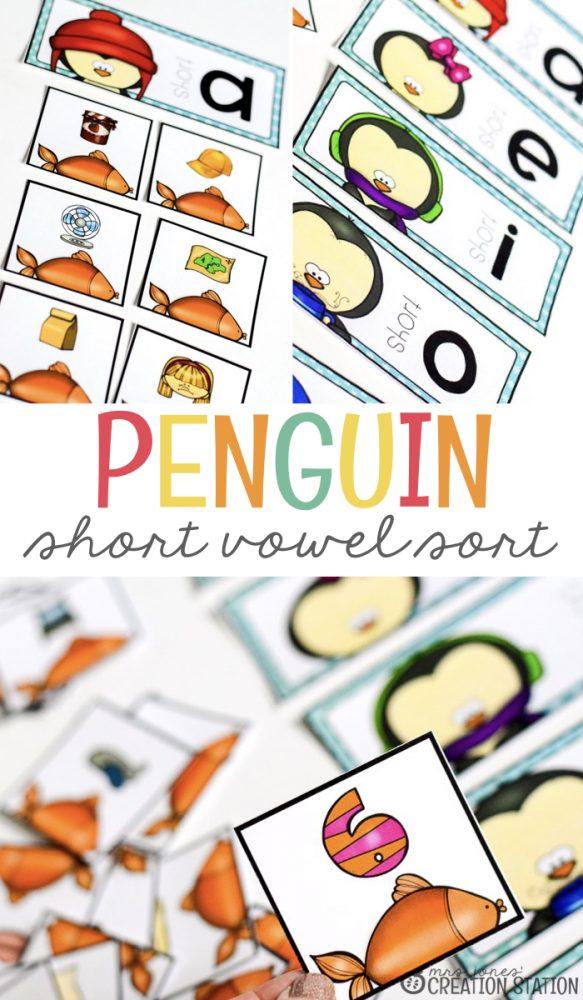 Penguin Short Vowel Sort- Mrs. Jones Creation Station
