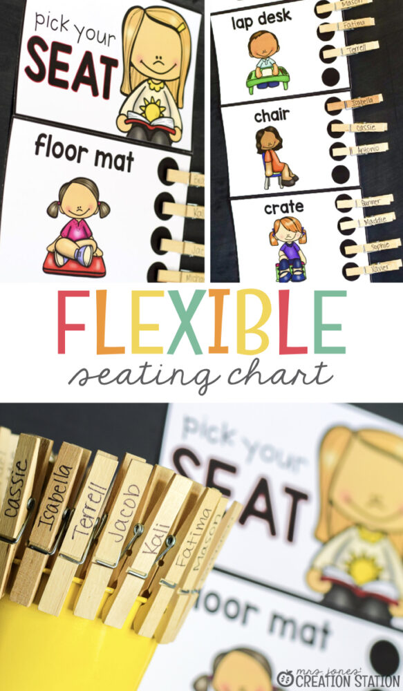 flexible seating chart with student clips on a chalk board