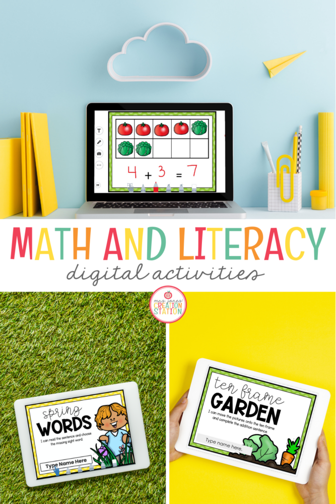 These digital resources are perfect for your spring unit.  Math and literacy activities cover addition practice using tens frames along with reading and completing sentences using the correct sight word.