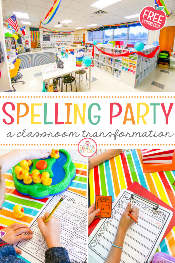 Transform your classroom when you need to re-energize your students!  This spelling party is a great way to get your students excited about spelling and phonics.  These games focus on phonics skills such as digraphs and vowel patterns along with traditional sight words.